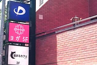 錦糸町駅北口徒歩2分以内、看板に大きくヨガと書いてあるビルの5F。エレベータでおこしください。